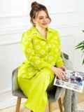 Пижама батал с цветочным принтом и брюками зеленая 53181, фото 2
