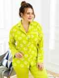 Пижама батал с цветочным принтом и брюками зеленая 53181, фото 3