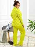 Пижама батал с цветочным принтом и брюками зеленая 53181, фото 4