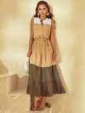 Расклешенное платье-макси с воротником-стойкой бежевое 53794, фото 2