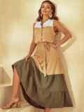 Расклешенное платье-макси с воротником-стойкой бежевое 53794, фото 3