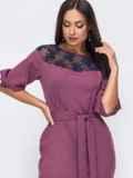 Розовое платье батал со вствками кружева 51307, фото 2