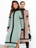 Мятное платье с воротником-стойкой и контрастными вставками 52544, фото 6