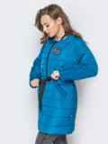 Удлиненная куртка-бомбер с кулиской на талии бирюзовая 20246, фото 2