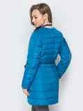 Удлиненная куртка-бомбер с кулиской на талии бирюзовая 20246, фото 3