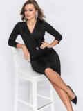 Обтягивающее платье из креп-дайвинга с напылением чёрное 52093, фото 2