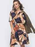 Платье-рубашка с принтом и резинкой по талии бежевое 46602, фото 1