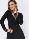 Расклешенное платье с треугольным вырезом чёрное 52092, фото 2