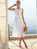 Белое платье без рукавов из прошвы с расклешенной юбкой 54234, фото 3