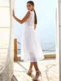 Белое платье без рукавов из прошвы с расклешенной юбкой 54234, фото 4