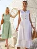 Белое платье без рукавов из прошвы с расклешенной юбкой 54234, фото 1