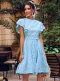 Голубое платье с широким воланом по подолу 54338, фото 2