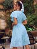 Голубое платье с широким воланом по подолу 54338, фото 4