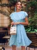 Голубое платье с широким воланом по подолу 54338, фото 1