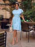 Голубое платье с широким воланом по подолу 54338, фото 3