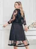 Черный комплект батал из платья и болеро с кружевом 43268, фото 2