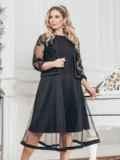 Черный комплект батал из платья и болеро с кружевом 43268, фото 1