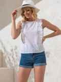 Белая блузка прямого кроя из прошвы с оборками по бокам 49101, фото 2