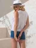 Белая блузка прямого кроя из прошвы с оборками по бокам 49101, фото 3