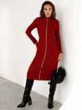 Трикотажное платье-миди на молнии бордовое 52340, фото 4