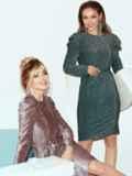 Платье-миди с люрексом и буфами на рукавах зеленое 51973, фото 2