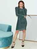 Платье-миди с люрексом и буфами на рукавах зеленое 51973, фото 3