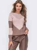 Пудровый вязаный свитер с перфорацией 50423, фото 2