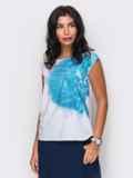 Легкая блузка с принтом и пуговицей сзади 10251, фото 4