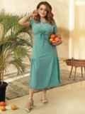 Платье из софта с воланом по низу юбки бирюзовое 53741, фото 2