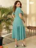 Платье из софта с воланом по низу юбки бирюзовое 53741, фото 4