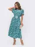 Расклешенное платье в горох с напуском по талии бирюзовое 54141, фото 2