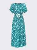 Расклешенное платье в горох с напуском по талии бирюзовое 54141, фото 4