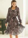 Бежевое платье-трапеция из шифона с принтом 53105, фото 2