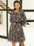 Бежевое платье-трапеция из шифона с принтом 53105, фото 3