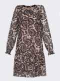 Бежевое платье-трапеция из шифона с принтом 53105, фото 5