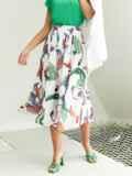 Шифоновая юбка-миди с абстрактным принтом белая 54189, фото 2