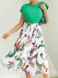 Шифоновая юбка-миди с абстрактным принтом белая 54189, фото 3