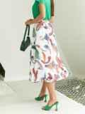 Шифоновая юбка-миди с абстрактным принтом белая 54189, фото 4