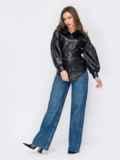 Черная рубашка из экокожи с объёмными рукавами 53136, фото 2