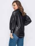 Черная рубашка из экокожи с объёмными рукавами 53136, фото 3