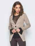 Кофта с имитацией пиджака и топа из фатина розовая 17608, фото 1