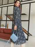 Шифоновое платье с принтом и лифом на запах черное 54975, фото 5