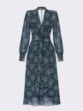 Шифоновое платье с принтом и лифом на запах черное 54975, фото 6