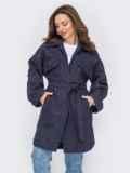 Тёмно-синее пальто с карманами 53425, фото 1