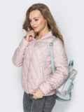 Стёганый бомбер на кнопках с карманами розовый 20276, фото 2