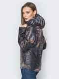Чёрная куртка с растительным принтом и воротником-стойкой 20266, фото 2