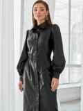 Чёрное платье-рубашка из искусственной кожи 49929, фото 2