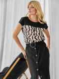 Льняной костюм из блузки с принтом и юбки чёрный 49924, фото 3