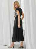 Льняной костюм из блузки с принтом и юбки чёрный 49924, фото 4