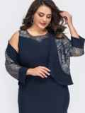 Тёмно-синий комплект батал из жакета и платья со вставками гипюра 51354, фото 2